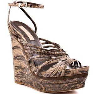BCBGMaxAzria Laurol Embossed wedge sandals heels